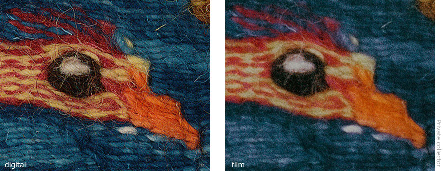 2 copy images of a tapestry showing difference in quality of film and direct digital capture